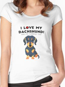 I love my dachshund anh my husband too Women's Fitted Scoop T-Shirt