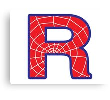 R letter in Spider-Man style Canvas Print