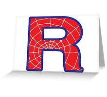 R letter in Spider-Man style Greeting Card