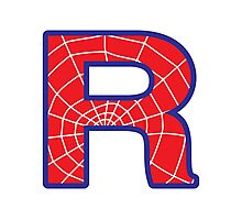 R letter in Spider-Man style Photographic Print