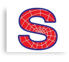 S letter in Spider-Man style Canvas Print