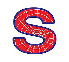 S letter in Spider-Man style Photographic Print