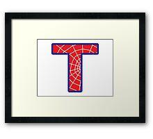 T letter in Spider-Man style Framed Print