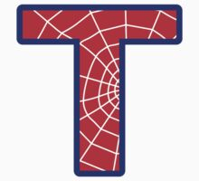 T letter in Spider-Man style Kids Tee