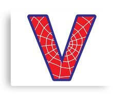 V letter in Spider-Man style Canvas Print