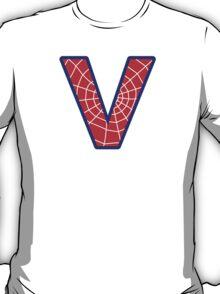 V letter in Spider-Man style T-Shirt