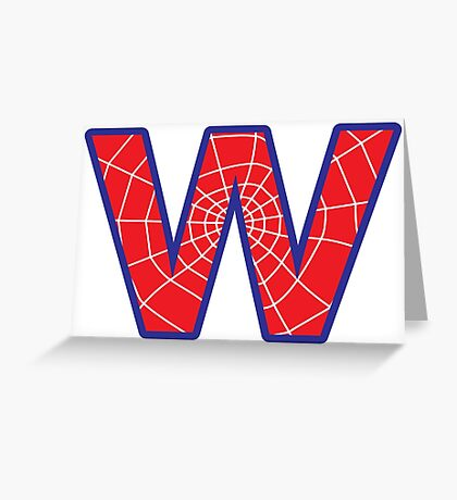 W letter in Spider-Man style Greeting Card
