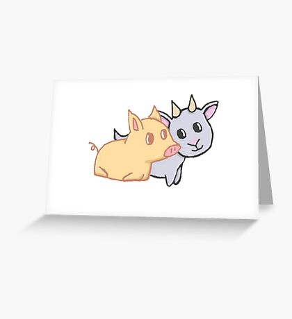 Piggy and Goat Greeting Card