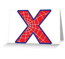 X letter in Spider-Man style Greeting Card