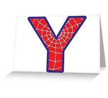 Y letter in Spider-Man style Greeting Card