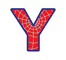 Y letter in Spider-Man style Photographic Print