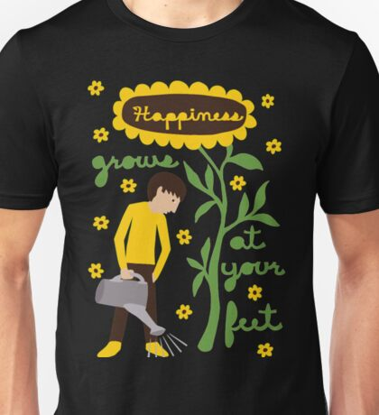 Happiness Grows At You Feet Funny Gardening Shirts Unisex T-Shirt
