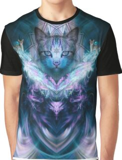 Abstract Psychedelic Art Cat Concept Graphic T-Shirt