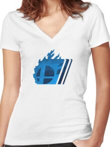 Simple Smash. Blue Women's Fitted V-Neck T-Shirt