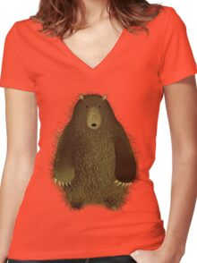 Barnsley the Big Bear. Women's Fitted V-Neck T-Shirt