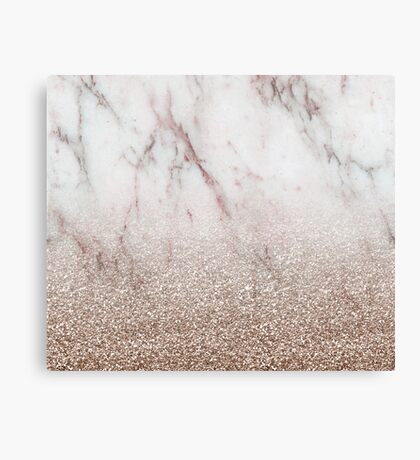 Glitter ombre - pink marble & rose gold glitter Canvas Print