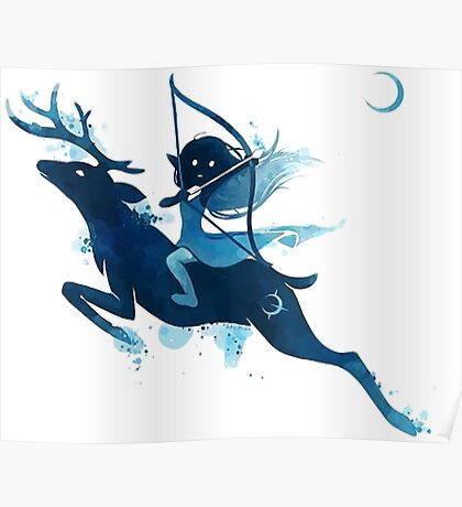 Girl on a magical deer Poster