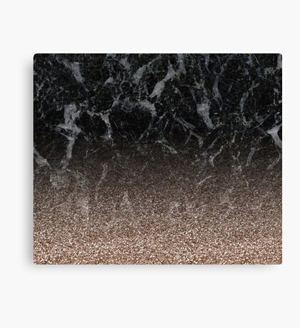 Glitter ombre - black marble & rose gold glitter Canvas Print
