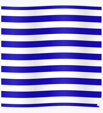 Deep blue marine stripes pattern Poster