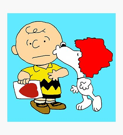 Snoopy Kiss Photographic Print