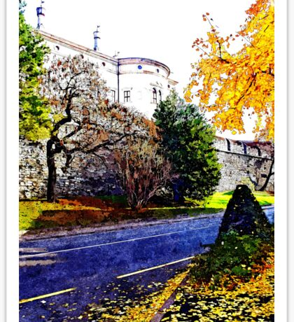 Road castle and autumn trees Sticker