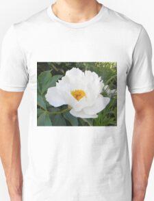 White Shrub Peony Unisex T-Shirt