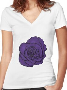 Open Purple Rose Women's Fitted V-Neck T-Shirt