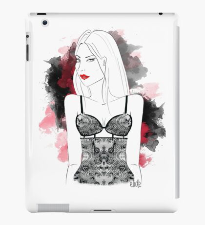 lingery girl in red watercolor iPad Case/Skin