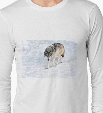 Winter Wolf Walk _ Timber Wolf Long Sleeve T-Shirt