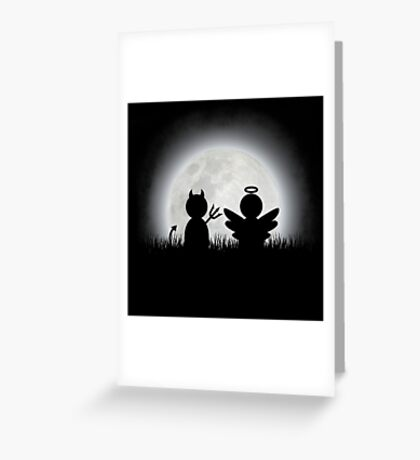 Angel and Devil Moon Meeting Greeting Card