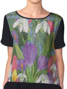 Spring Flowers Painting Chiffon Top