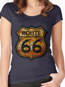 ROUTE 66 RUSTED SIGN Women's Fitted Scoop T-Shirt