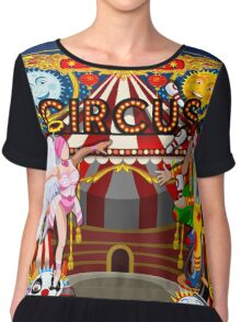 Carnival Circus Amusement Family Theme Park Illustration   Chiffon Top