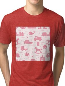 Vector illustration kids toys objects: train, puzzle, designer, boat, car, whale and other. Tri-blend T-Shirt