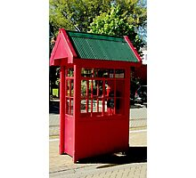 Red Telephone Box Christchurch  New Zealand Photographic Print