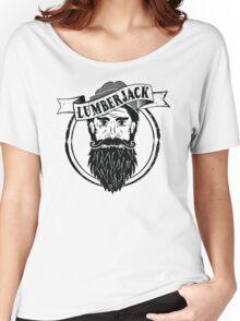 Lumberjack Logo Tee - Black & White Women's Relaxed Fit T-Shirt