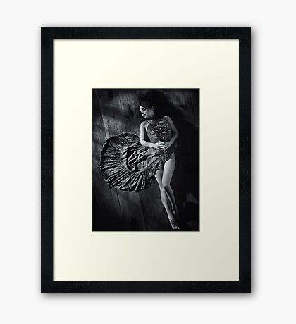 Sensual portrait of woman in dress with bare legs lying on the floor Black and white art photo print Framed Print