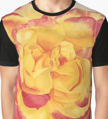 Peace Rose, Yellow and Pink Graphic T-Shirt