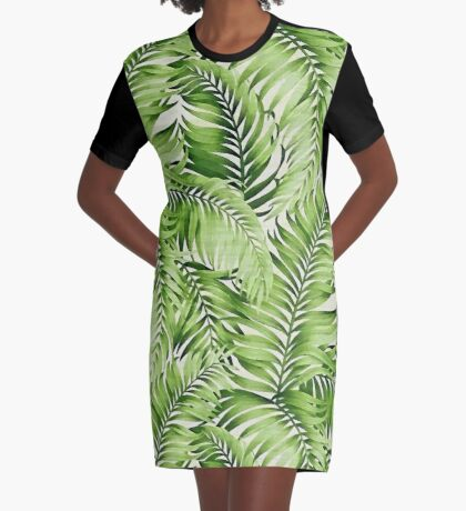 Greenery palm leaves Graphic T-Shirt Dress