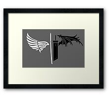 Final Fantasy VII - One Winged Angels on dark Framed Print