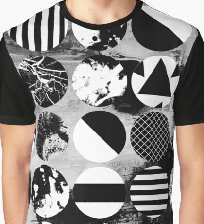Black And White Textured Circles Graphic T-Shirt