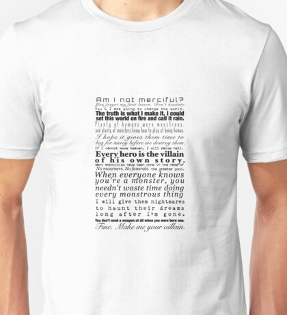Villains- A Collection of Book Quotes Unisex T-Shirt