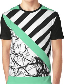 Stripes N Marble Green Graphic T-Shirt