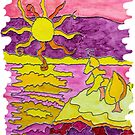 SUNSET OCEAN SEASCAPE HUMOR SHINE ON BABY! by Nicola Furlong