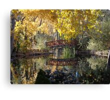 Bridge and Fall Colors Reflected on a Pond Canvas Print