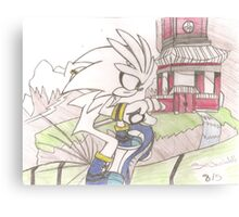 Hand-drawn Silver the Hedgehog Sonic Riders: ZG  Canvas Print