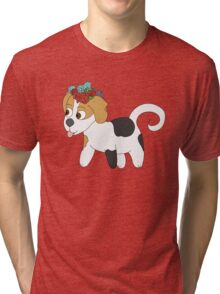 Beagle Puppy with Flower Crown Tri-blend T-Shirt