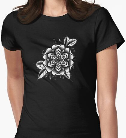 black and white tattoo flower Womens Fitted T-Shirt