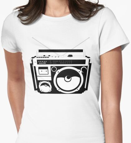 1980s Boombox in da hood Womens Fitted T-Shirt