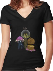 Glitch Inhabitants street spirit groddle Women's Fitted V-Neck T-Shirt